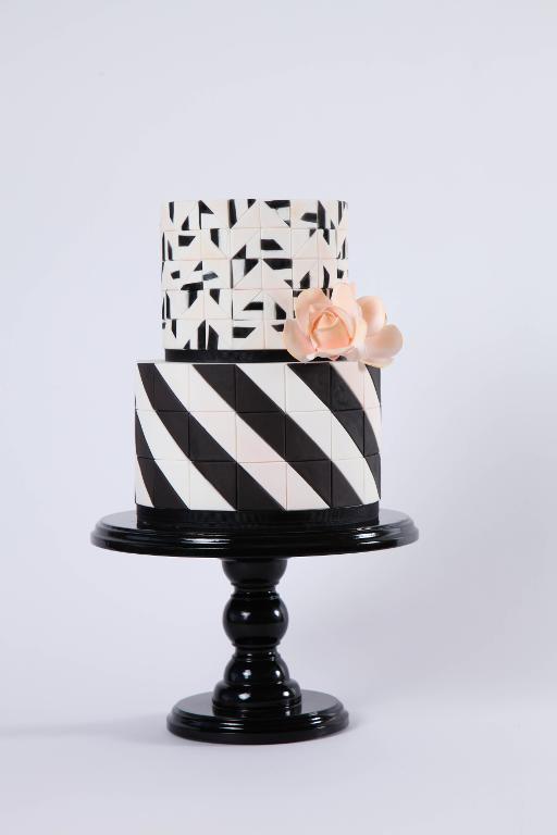 Black and White Mixed Media Cake