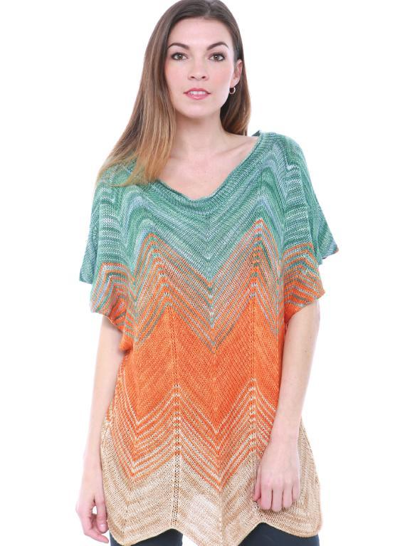 Knitted chevron bamboo tunic