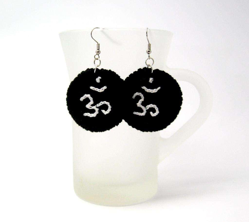 Crochet Om earrings