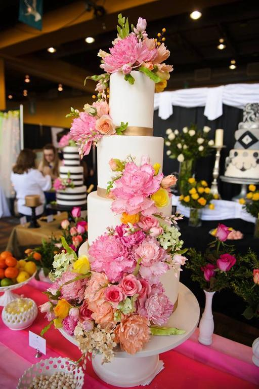 Gorgeous Statement Sugar Flower Wedding Cake