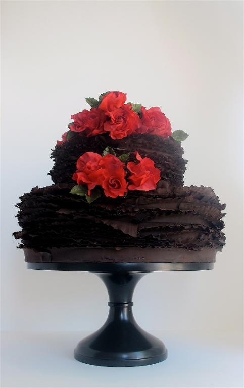 Chocolate wrapped frill cake with beautiful red roses