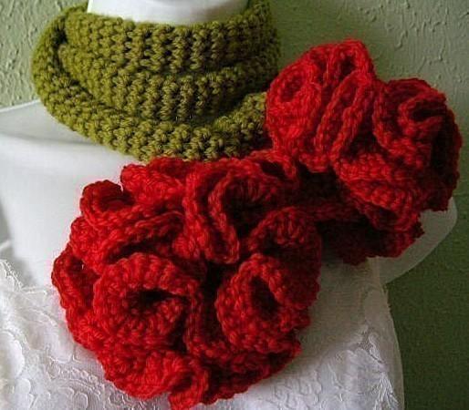 Crochet Carnation Lariat Scarf