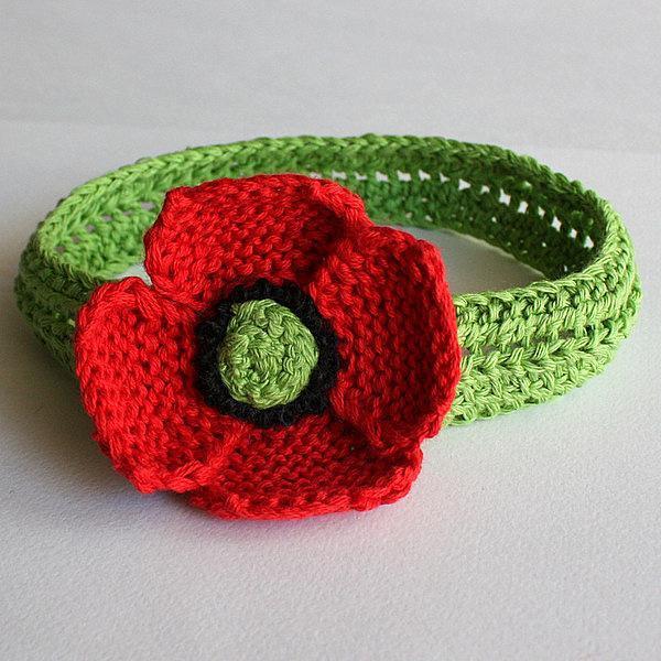 Knit poppy headband