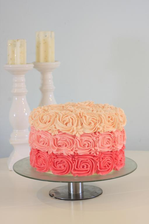 Rose cake made with buttercream