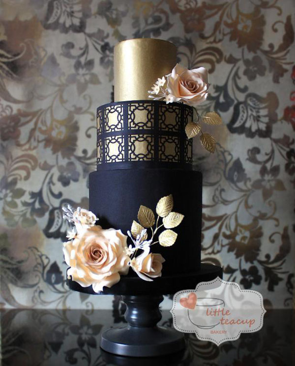 Dramatic Black and Gold Cake