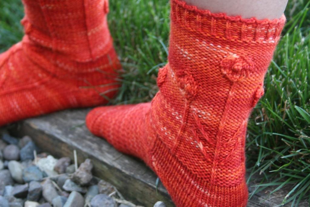 Knit poppy socks