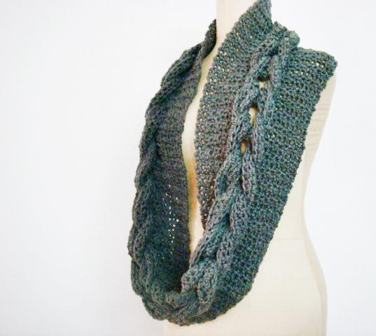 Crochet Cabled Infinity Loop Scarf