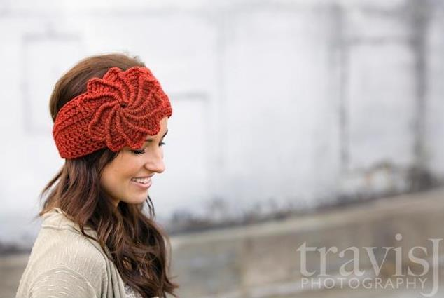 Spiral flower crochet headwrap