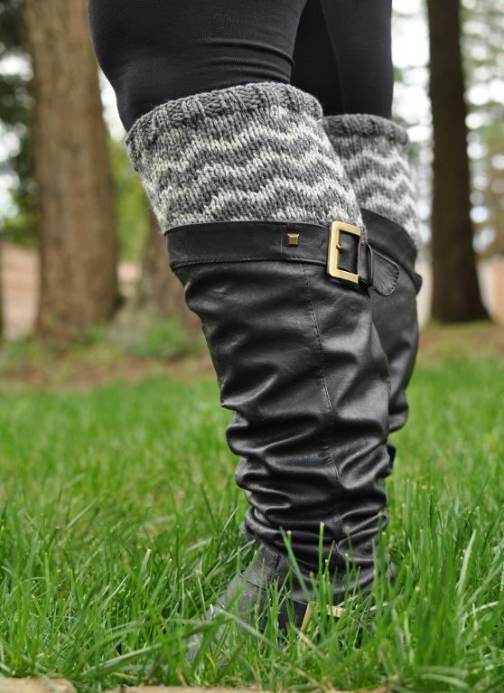 Knitted chevron boot cuffs