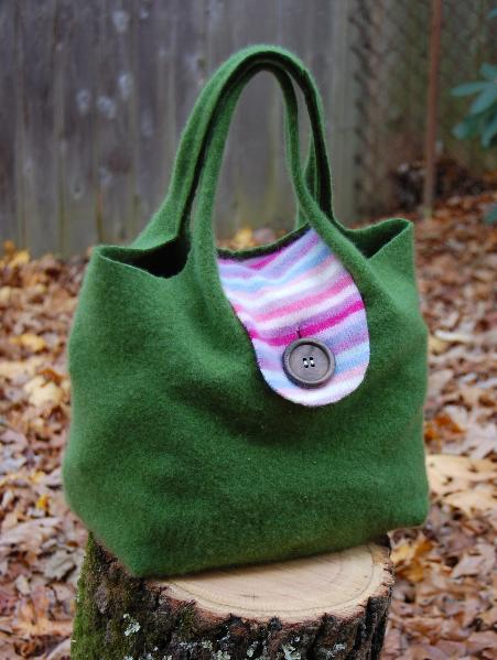 Felted wool tote from upcycled sweater