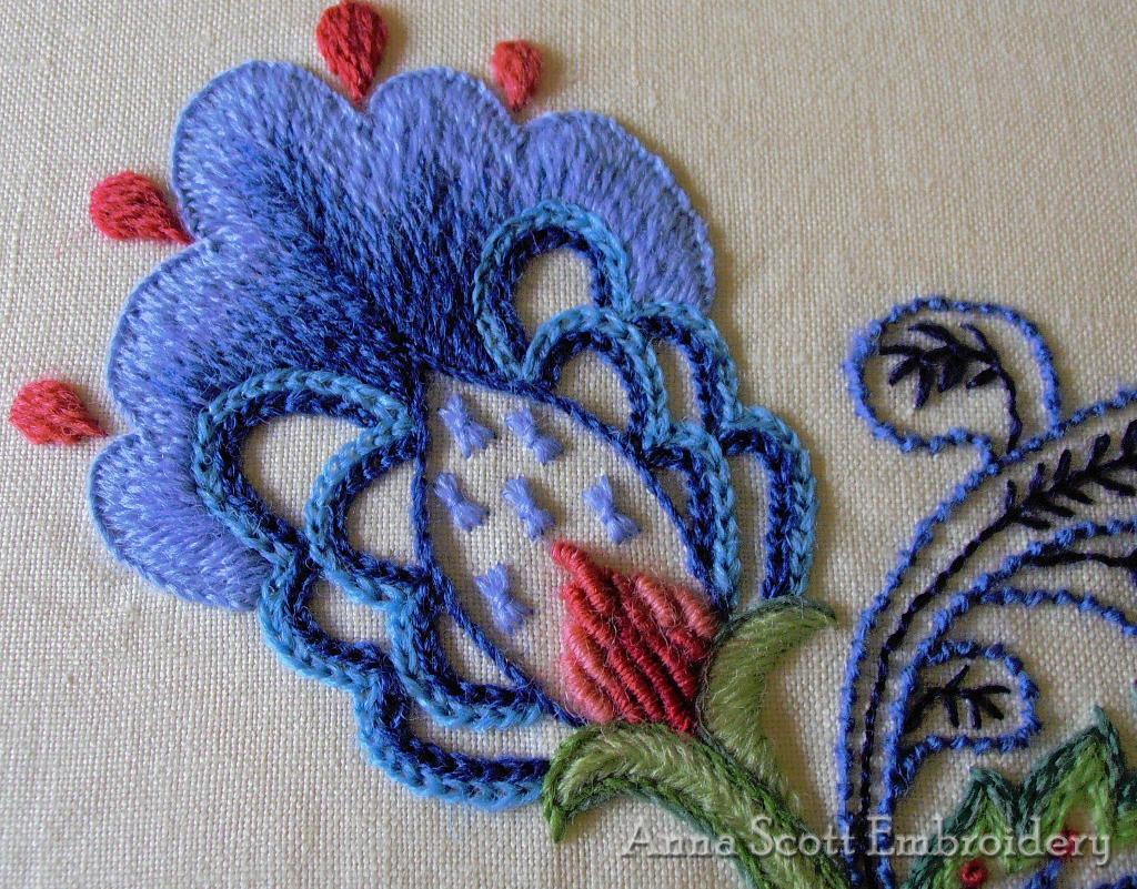 blue and pink floral crewel embroidery