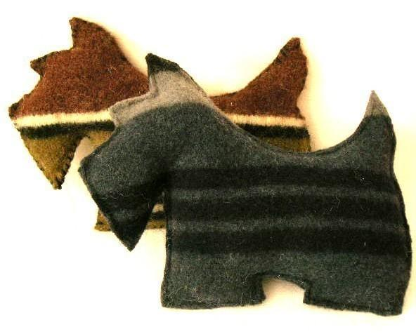 Recycled wool sweater Scottie dog pillow