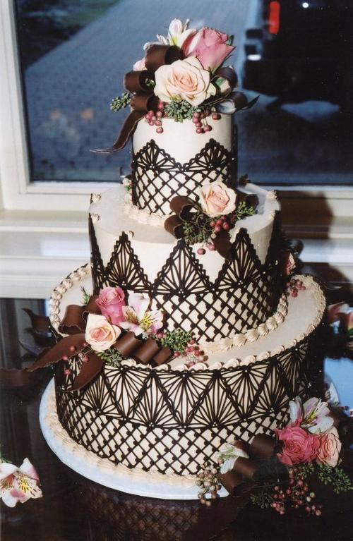 Chocolate lace wrap wedding cake