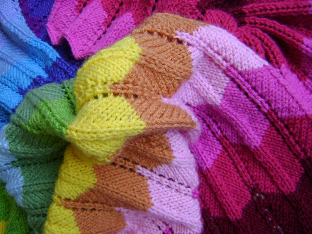 Knitting in technicolor chevron blanket