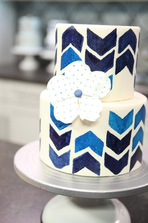 Painted Blue Chevron Cake on Craftsy