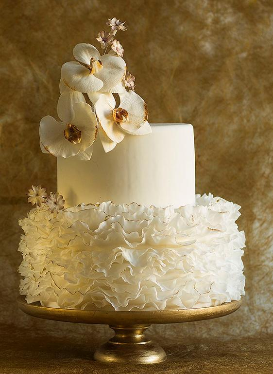 Fondant frills with Moth orchid