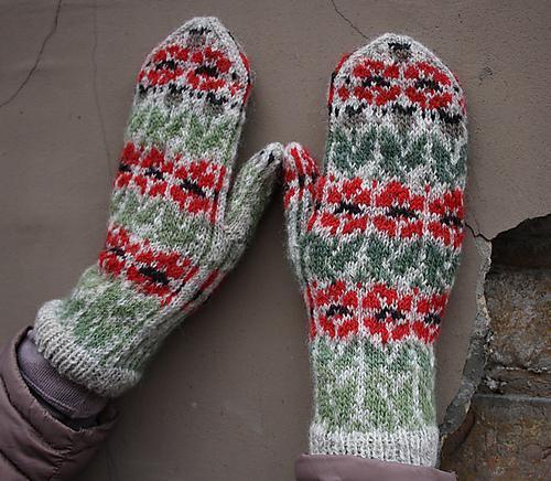 Knit poppy mittens