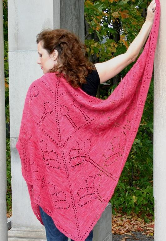 Field of poppies knitted shawl