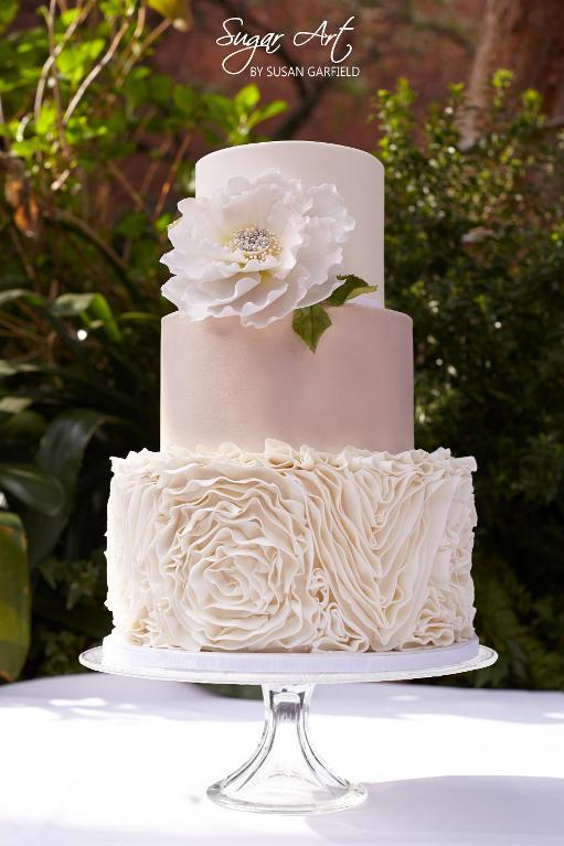 Ruffled Pink Flower Wedding Cake