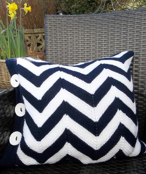 Knitted chevron pillow
