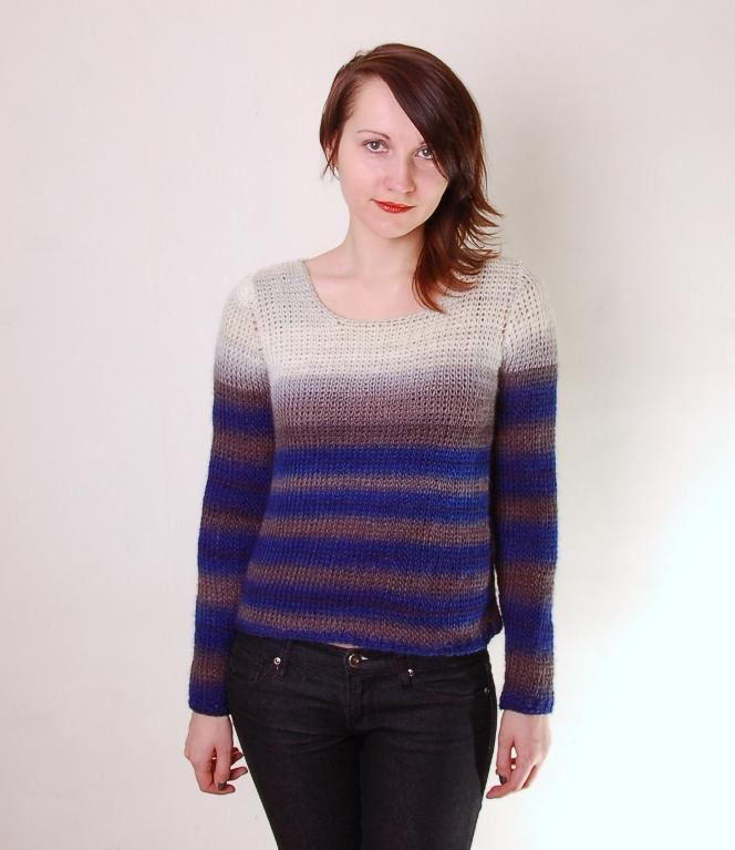 Bleached shoulder Tunisian crochet sweater