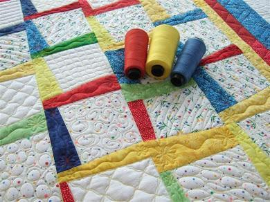 Primary Colors Baby Quilt with Filler Designs