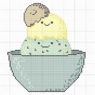 We Scream for Ice Cream Cross-Stitch Pattern