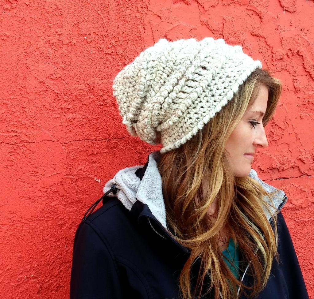 Crochet chunky textured beanie