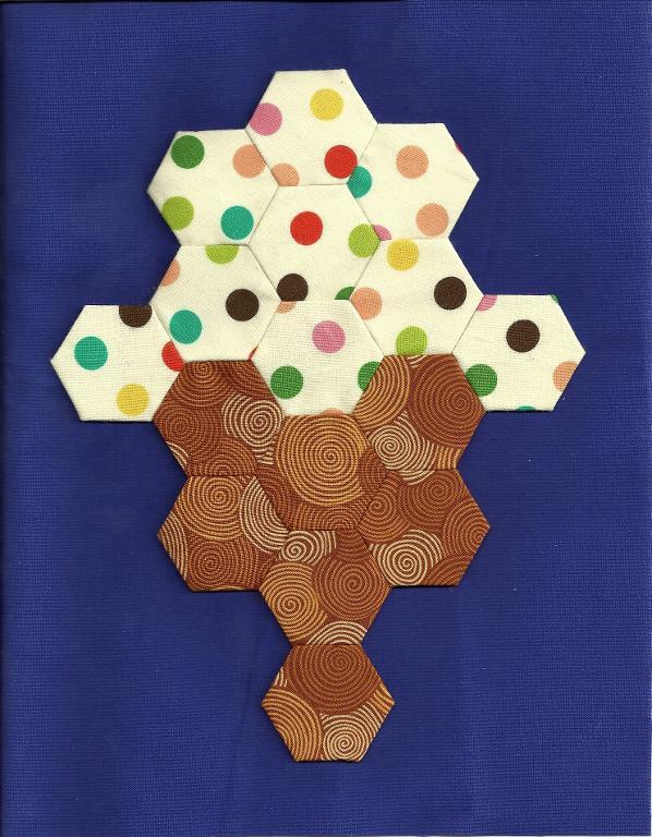Hexie Ice Cream Cone Quilt Block -- Free Pattern on Bluprint.com