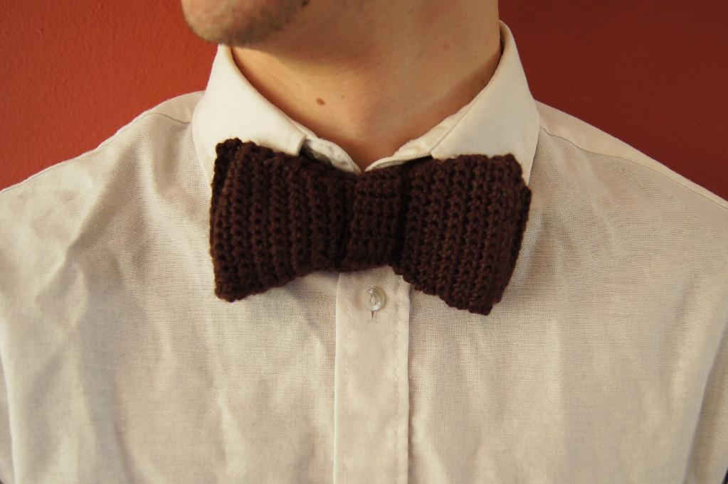 Crocheted bow tie