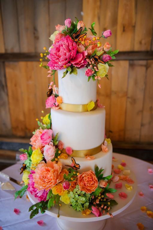 Sugar Flower Butterfly Wedding Cake
