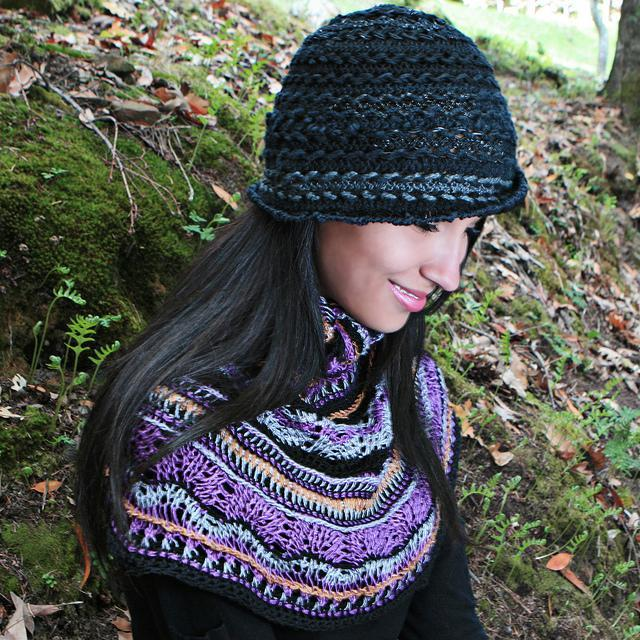 Tunisian crochet capelet with multi colors