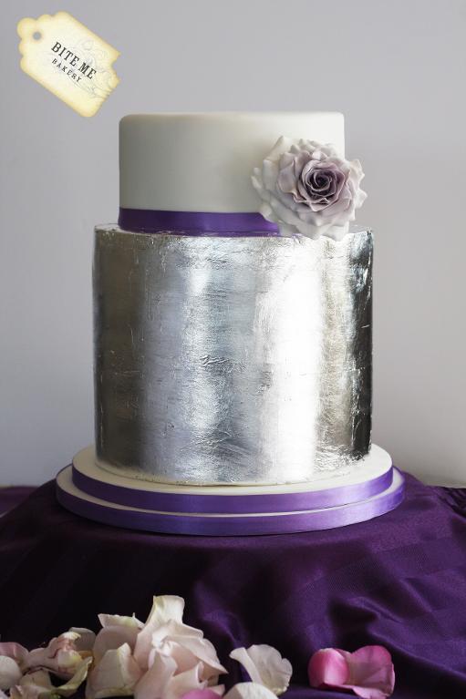 Modern Silver Purple Wedding Cake