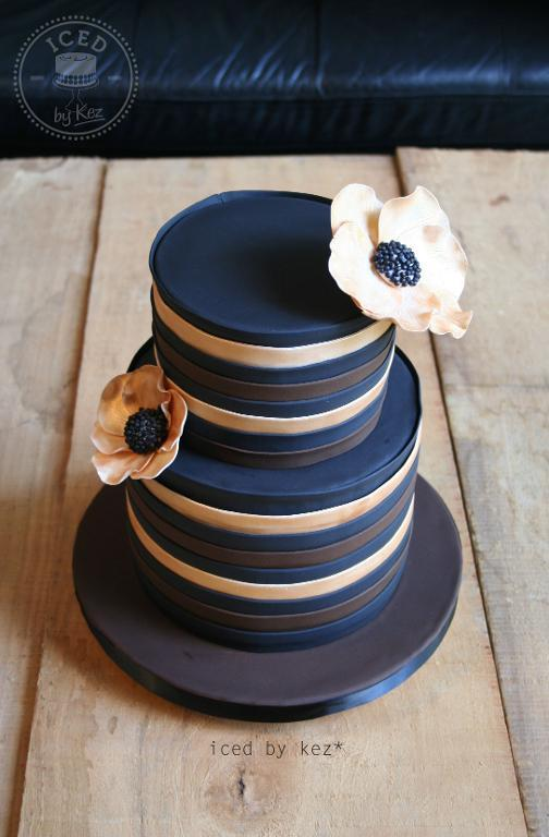 Black Brown & Gold Cake