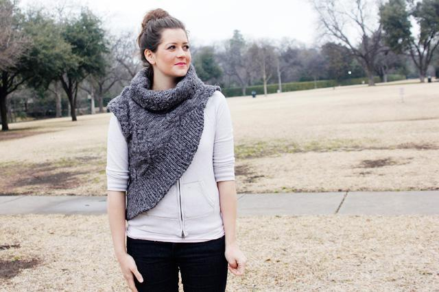 Katniss cowl sewing pattern made from an upcycled sweater