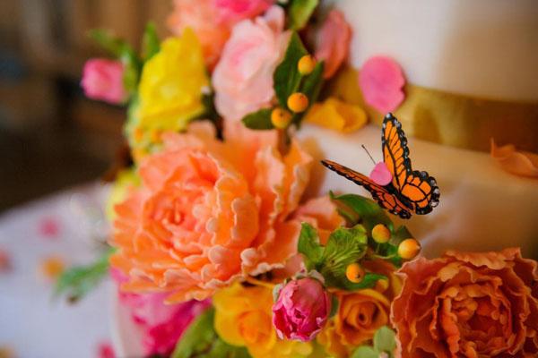 Sugar Flower Butterfly Wedding Cake on Craftsy