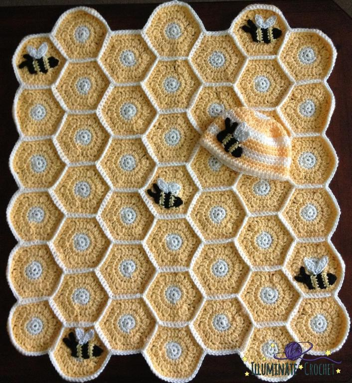 Honeybee crocheted baby blanket and hat