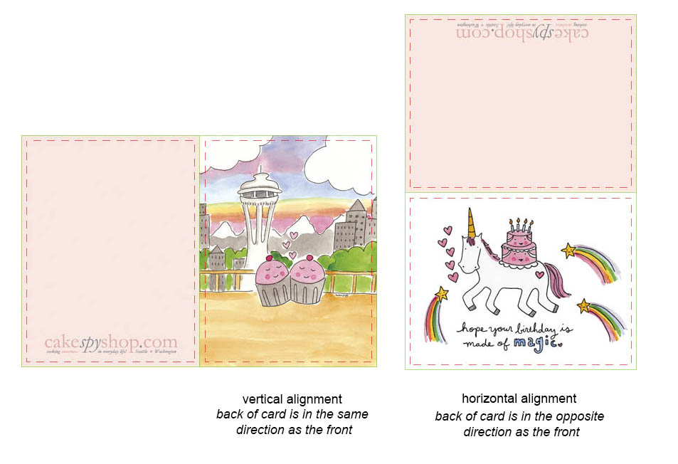 The alignment of the back will differ depending on whether your card is vertical or horizontal