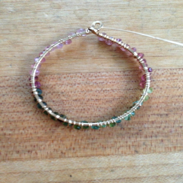 Hoop Earring Wrapped With Rondelles