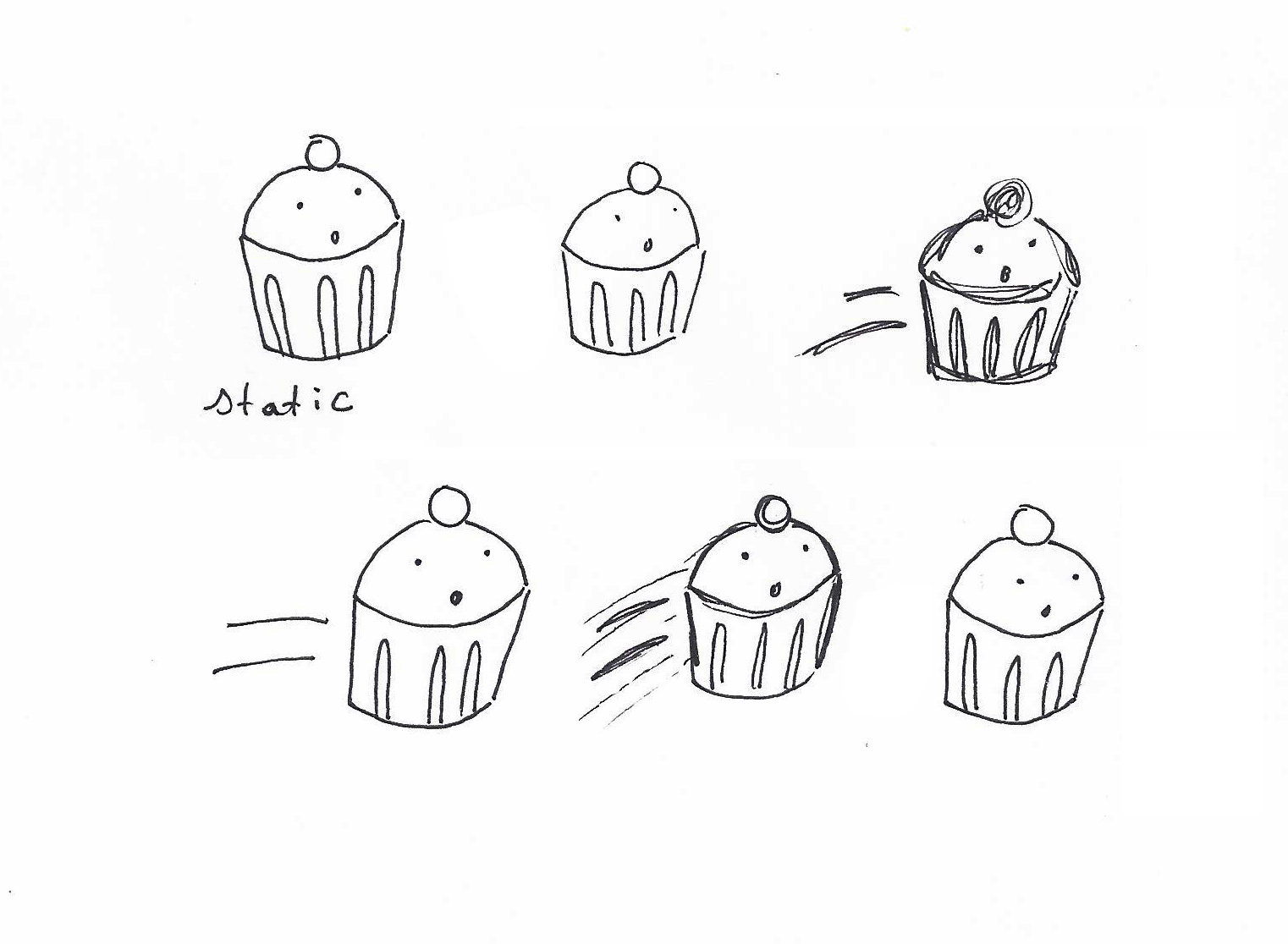 cupcakes drawing with movement