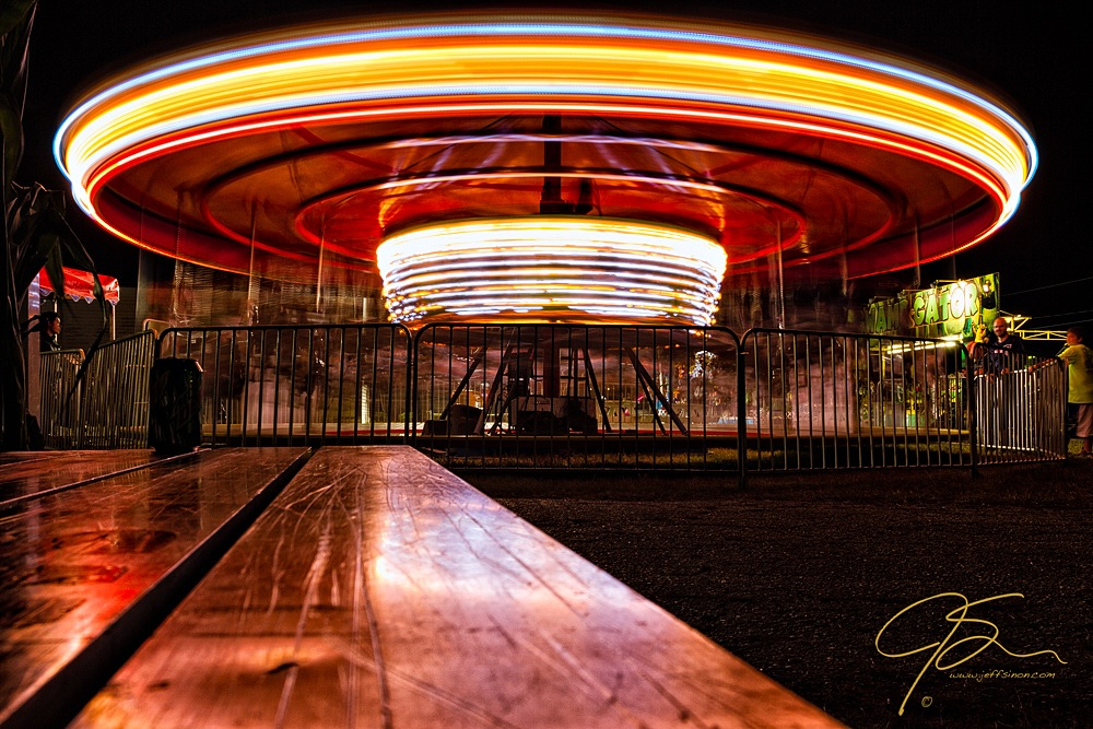 The exciting carousel, a long exposure at night.