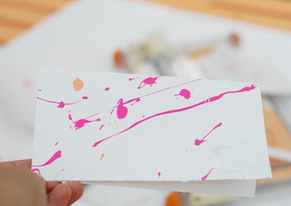 Splatter Paint Sample on White Card Stock