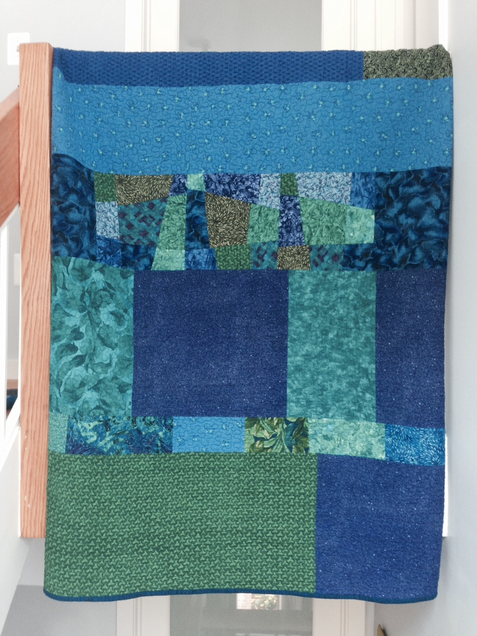 Quilt Back with Composition in Blues