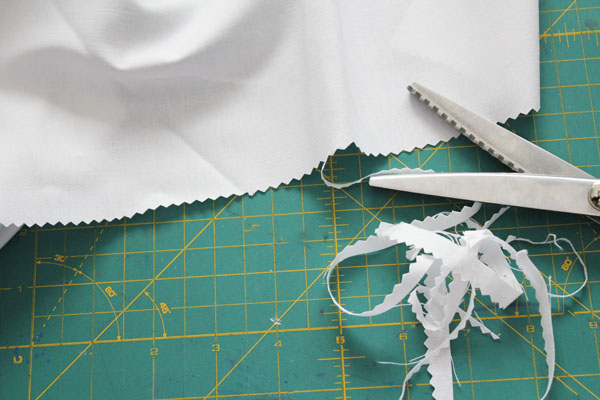 pinking shears to prep fabric for washing