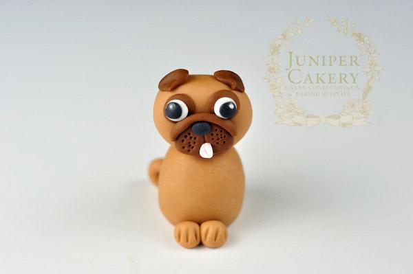 Make a fondant pug dog cupcake topper