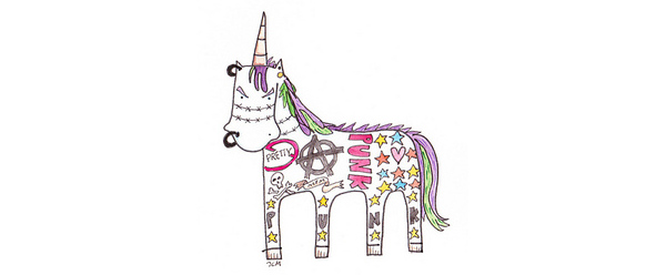 Combine unlikely things for creative fun like this punk unicorn