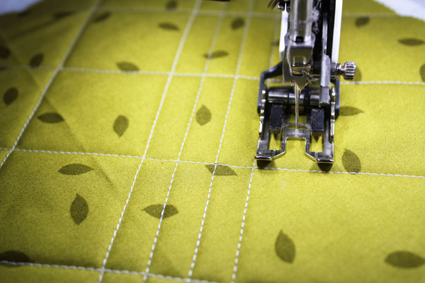 Rows of straight line quilting