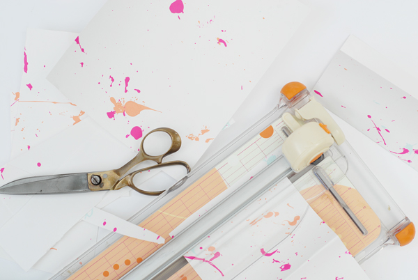 Materials for making splatter paint greeting cards