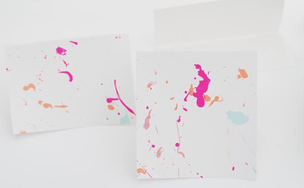 Making Splatter Paint Greeting Cards