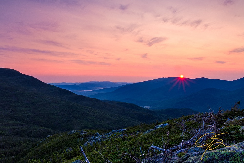 Sunrise in the New Hampshire mountains.